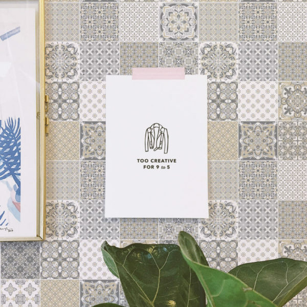 beige and gray mosaic tile peel and stick wallpaper