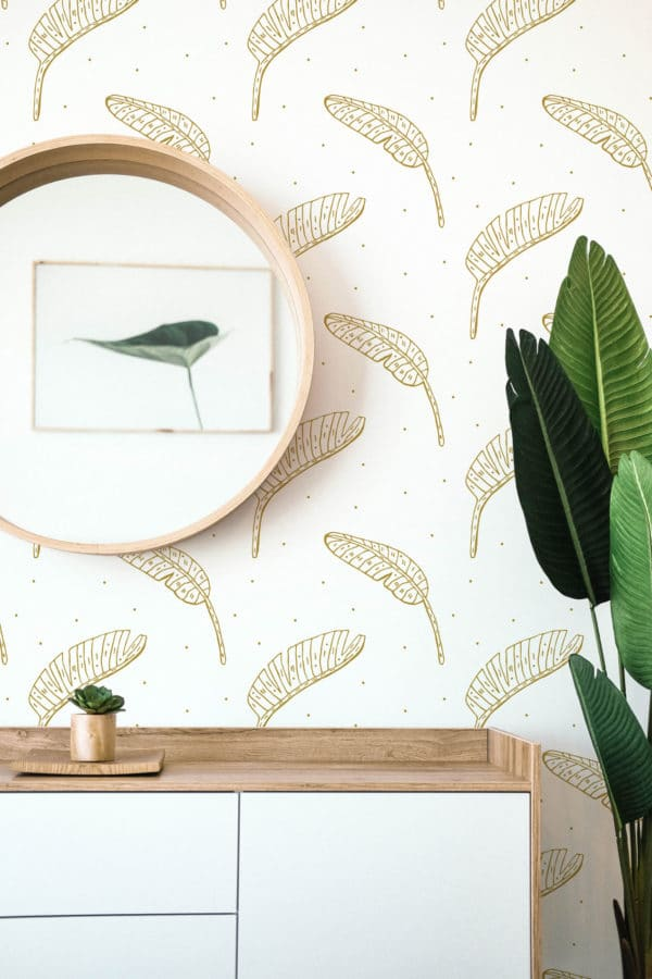 beige boho leaf wallpaper roll