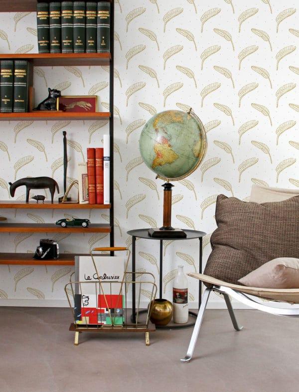 beige boho leaf removable wallpaper