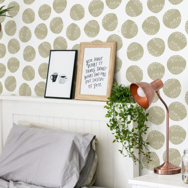 beige circle removable wallpaper
