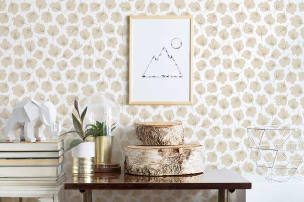 beige floral removable wallpaper