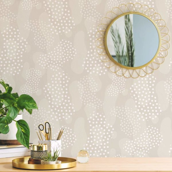beige modern boho abstract removable wallpaper