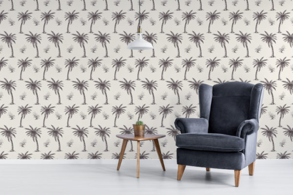 beige palm toile wallpaper peel and stick