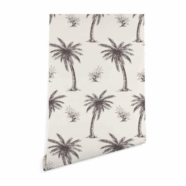 beige palm toile wallpaper roll