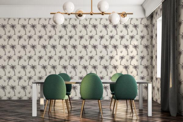 beige palm toile self-adhesive wallpaper