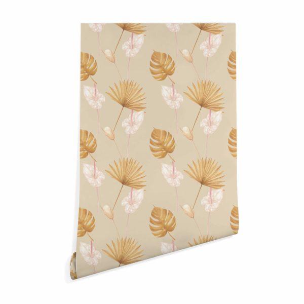 beige warm tropical leaf wallpaper roll
