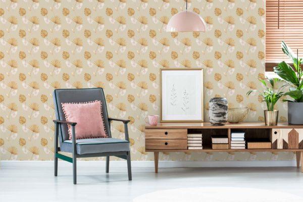 beige warm tropical leaf removable wallpaper