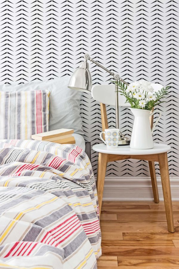black and white bold herringbone design pattern
