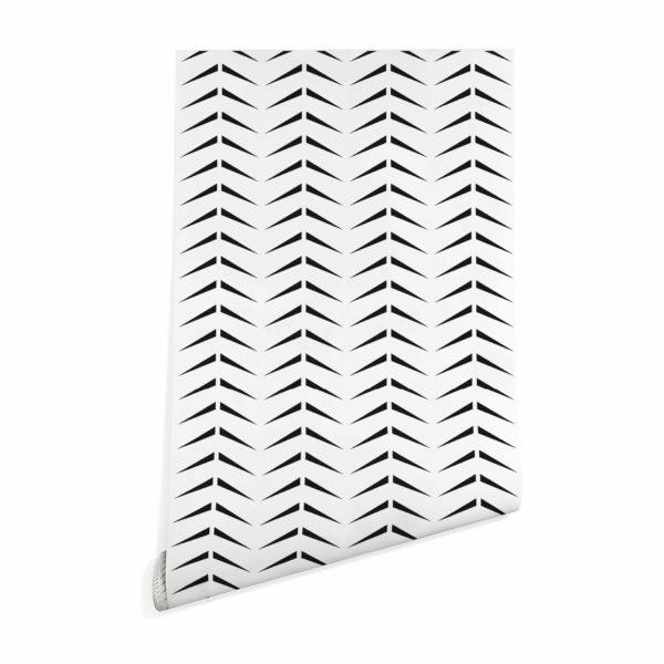 black and white bold herringbone wallpaper peel and stick