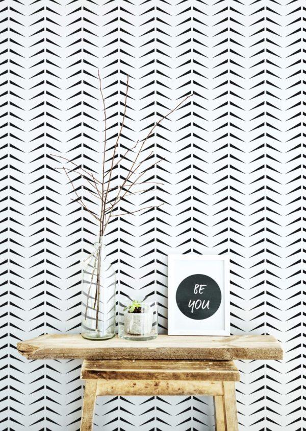 black and white bold herringbone removable wallpaper