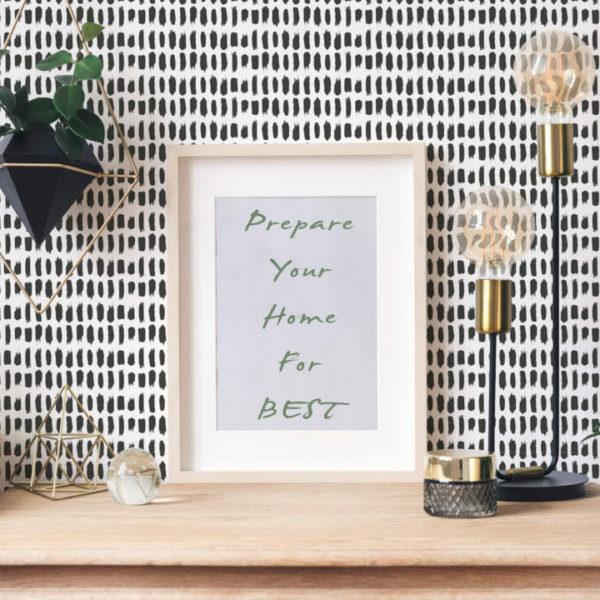 black and white brushstroke peel and stick wallpaper