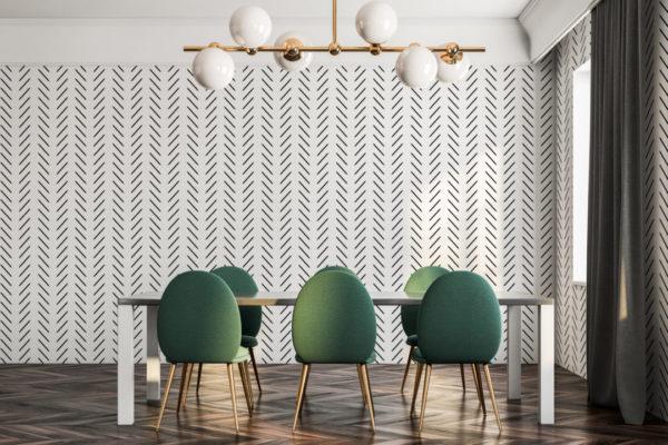 contemporary herringbone stick and peel wallpaper