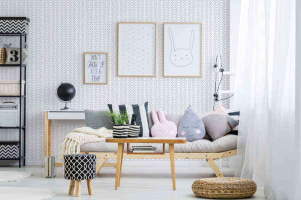 black and white herringbone wallpaper roll