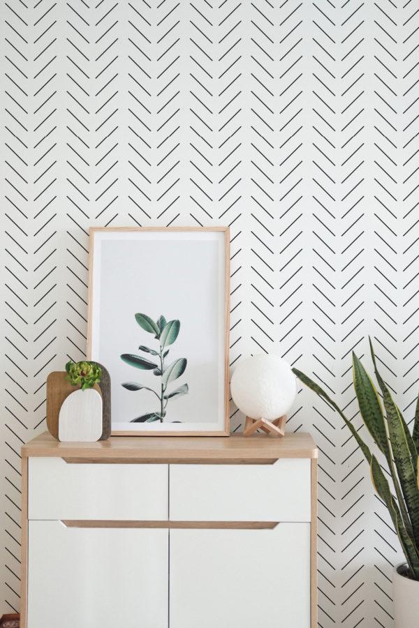 black and white herringbone removable wallpaper