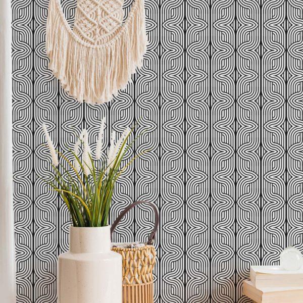 black elegant geometric removable wallpaper