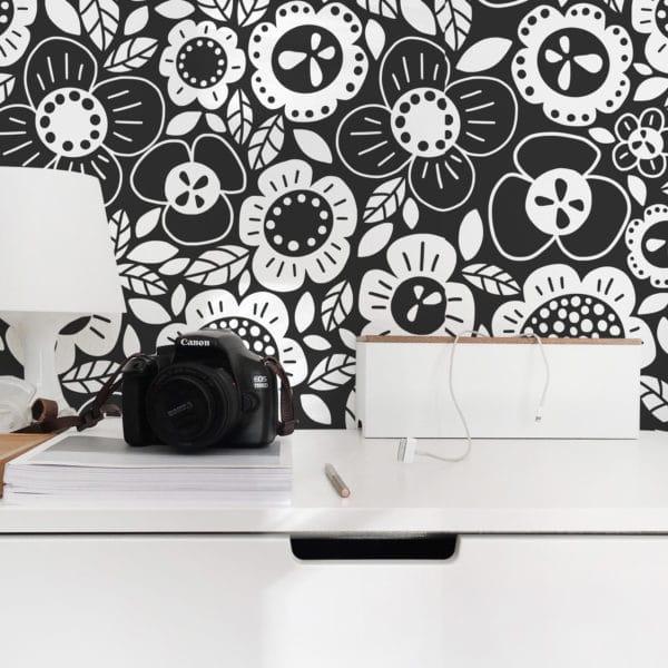 black fun floral removable wallpaper