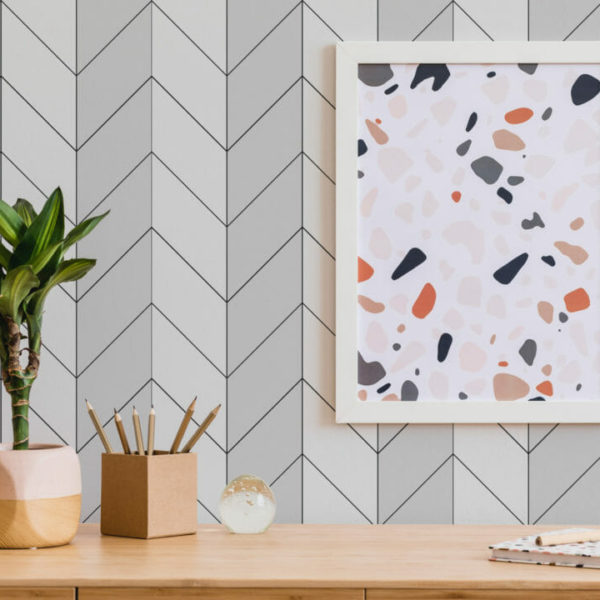 black herringbone bison taupe peel and stick removable wallpaper