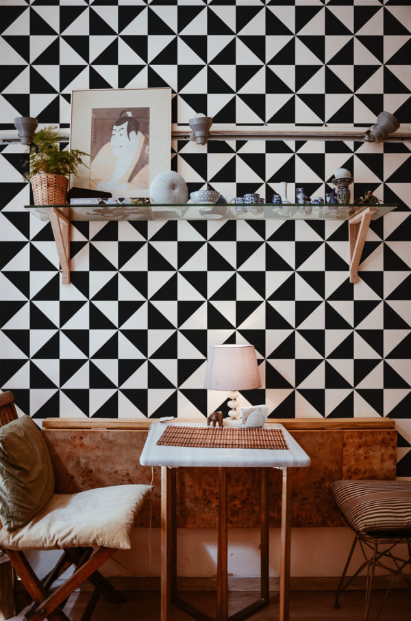 black large triangle removable wallpaper