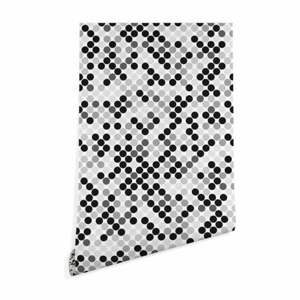 black monochrome polka dots wallpaper peel and stick