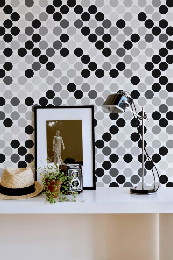 black monochrome polka dots wallpaper roll