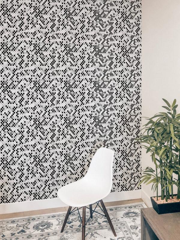 black monochrome polka dots removable wallpaper