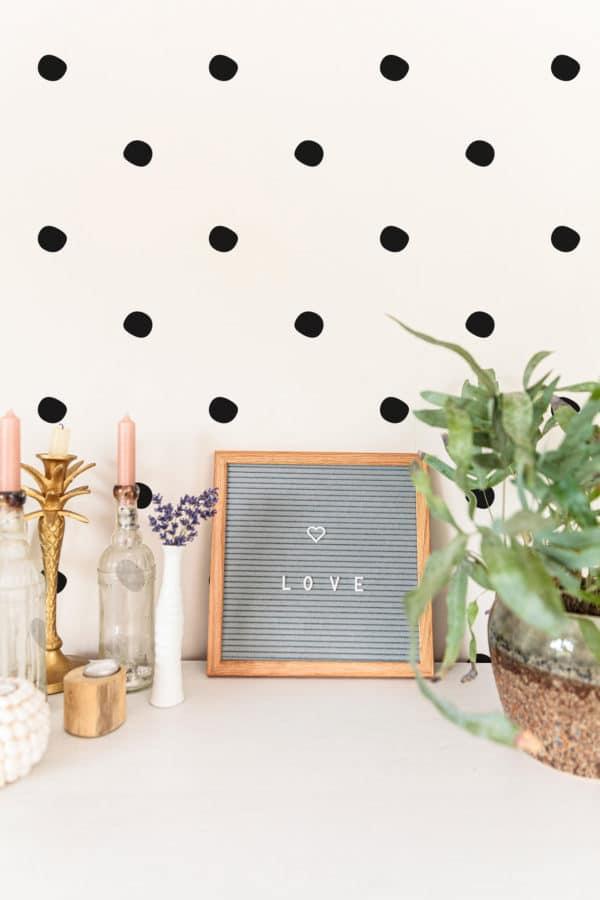 black simple polka dots wallpaper roll