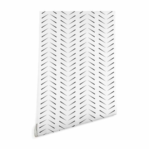 black simple zig-zag herringbone wallpaper peel and stick