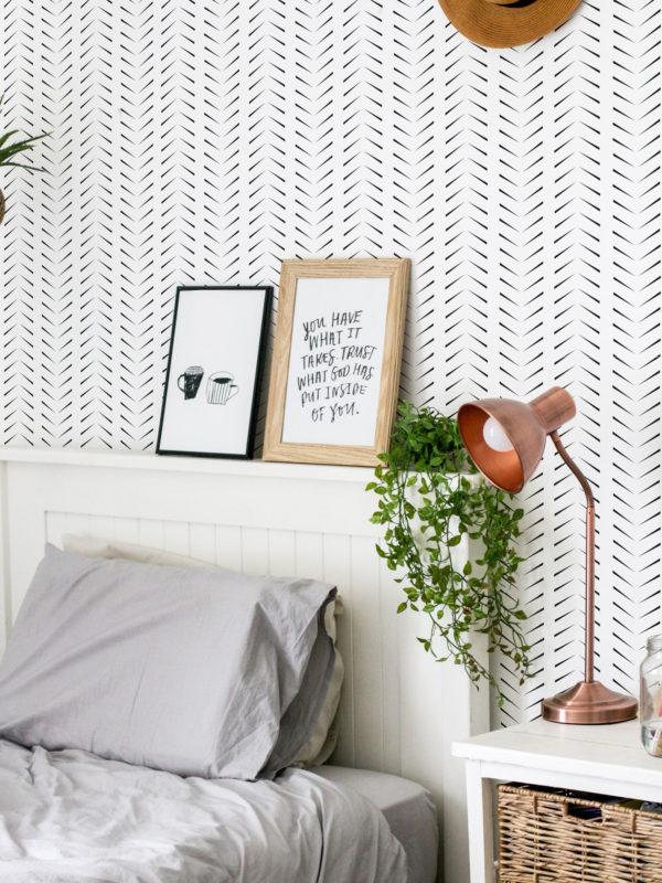 black simple zig-zag herringbone wallpaper roll