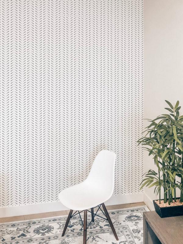 black simple zig-zag herringbone removable wallpaper