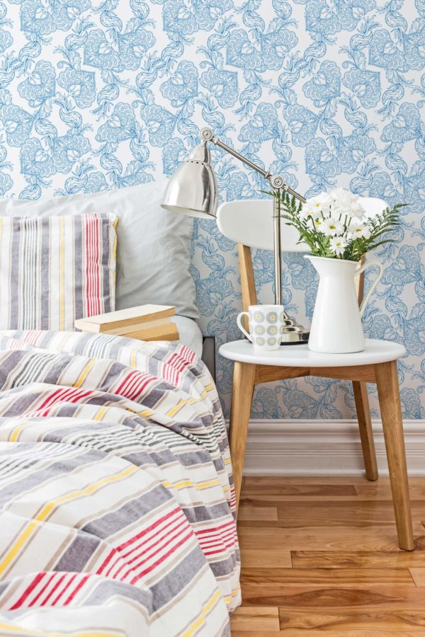 blue and white oriental floral wallpaper peel and stick