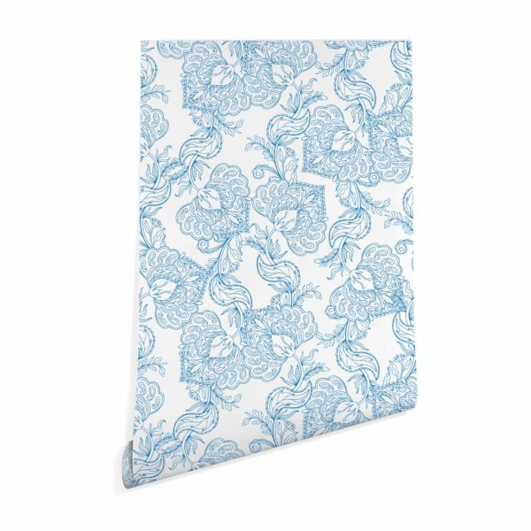 blue and white oriental floral wallpaper roll