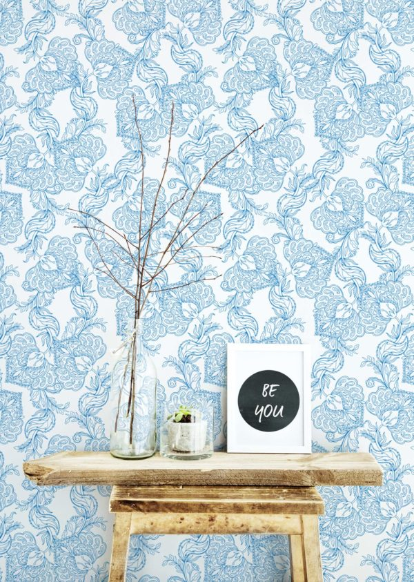 blue and white oriental floral removable wallpaper