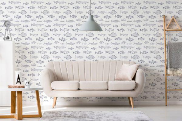 fish wallpaper in living room
