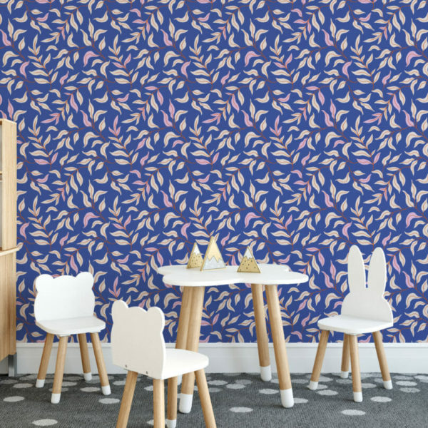 blue leaf peel and stick wallpaper