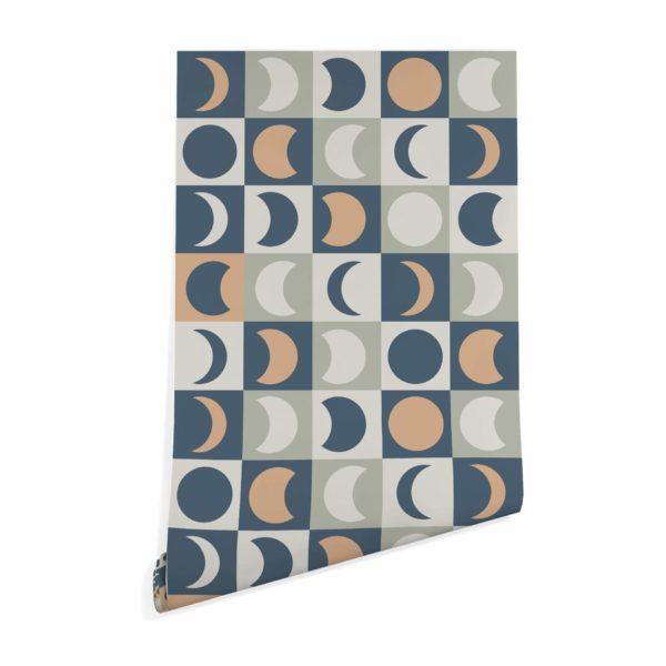 blue multicolored moon wallpaper roll