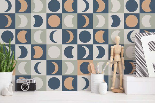 blue multicolored moon removable wallpaper