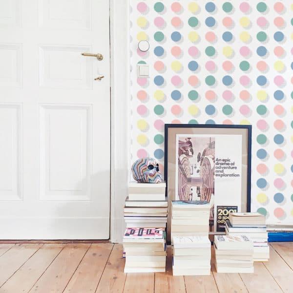 blue pastel polka dots wallpaper roll