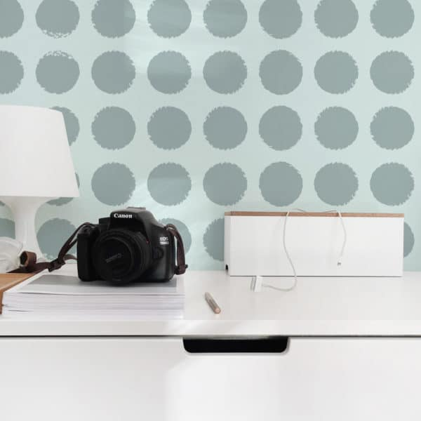 blue polka dots removable wallpaper