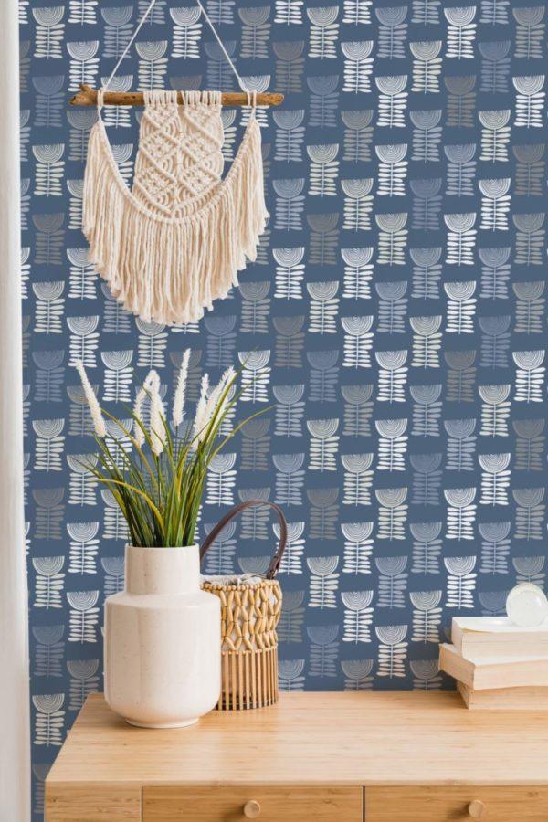 scandi floral stick and peel wallpaper