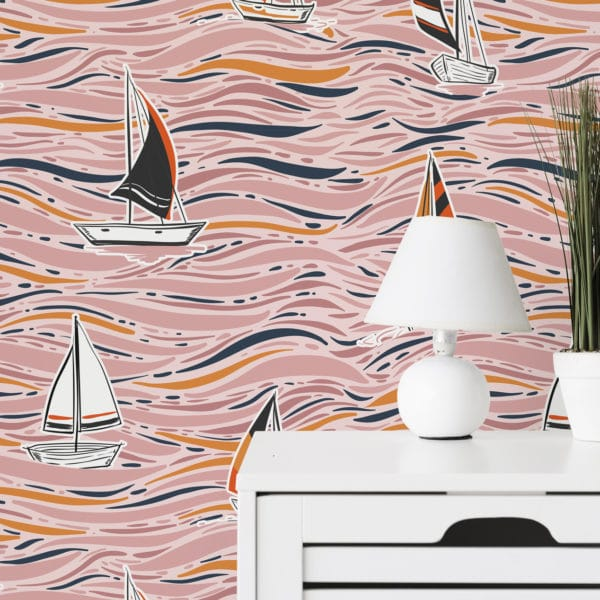 pink boat wallpaper peel and stick
