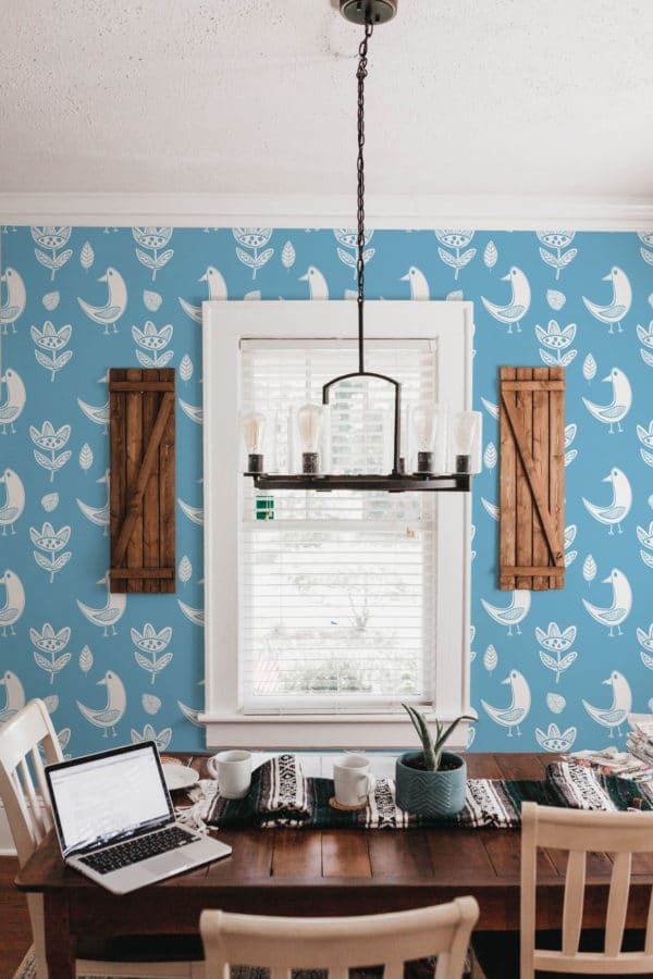 white and blue boho bird wallpaper peel and stick