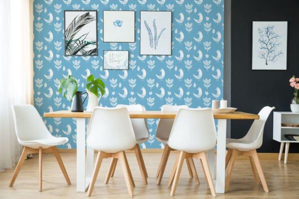 white and blue boho bird wallpaper roll