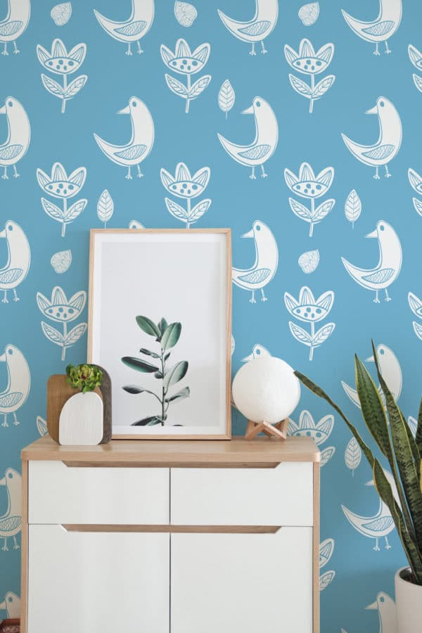 white and blue boho bird removable wallpaper