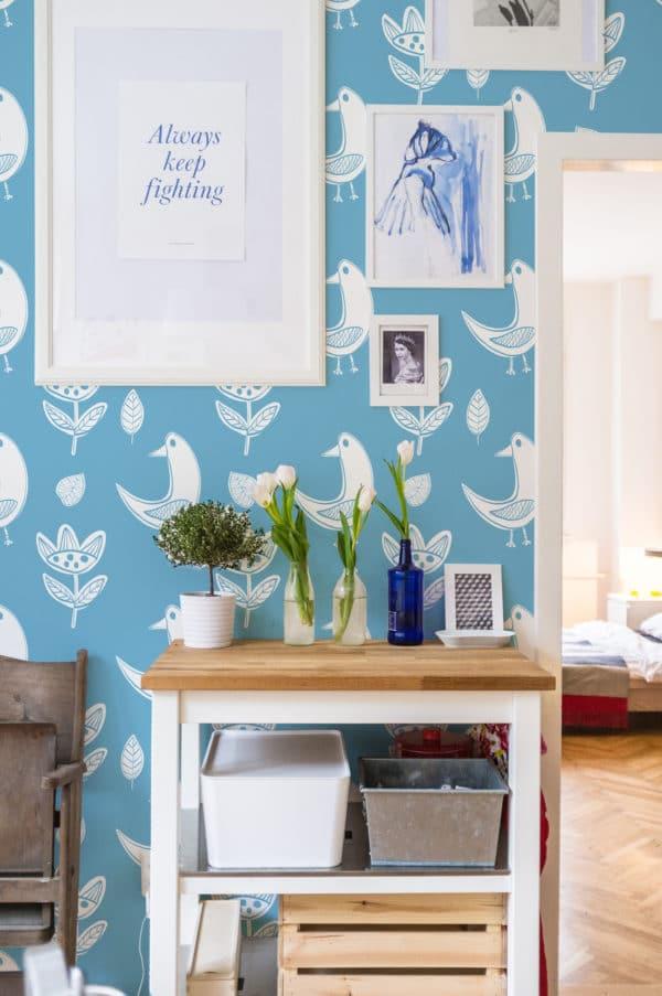 white and blue boho bird self-adhesive wallpaper