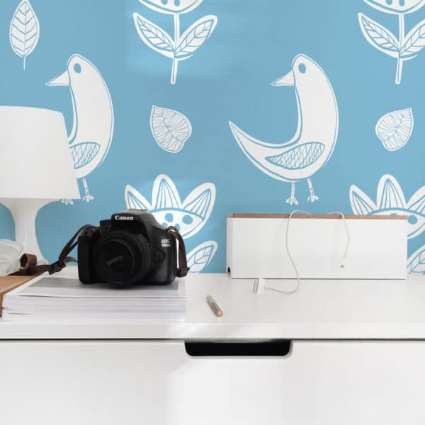 white and blue boho bird peel and stick wallpaper