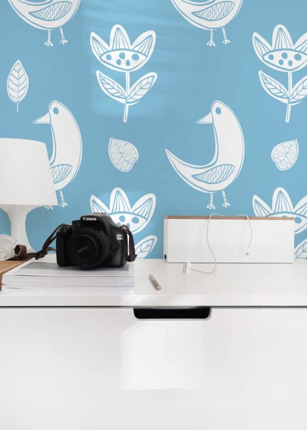white and blue boho bird peel and stick wallpaper