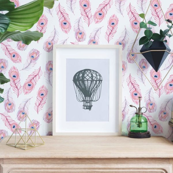 pink and white boho feather self-adhesive wallpaper