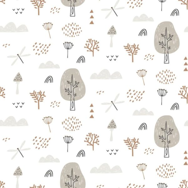 boho forest stick and peel wallpaper