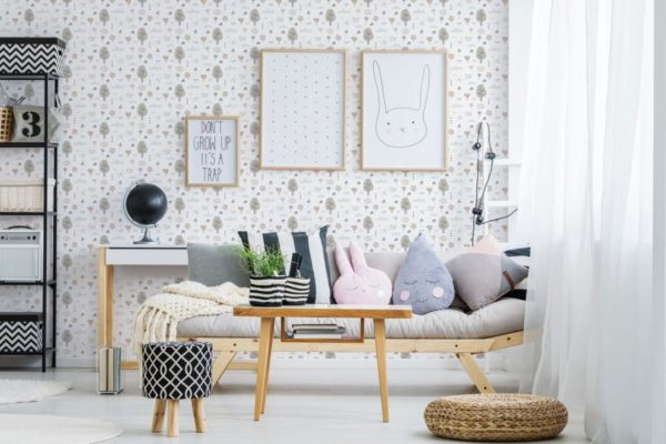 gray boho forest peel and stick removable wallpaper