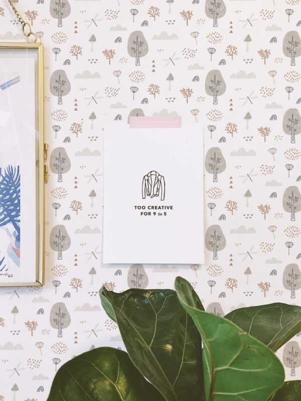 gray boho forest peel and stick wallpaper